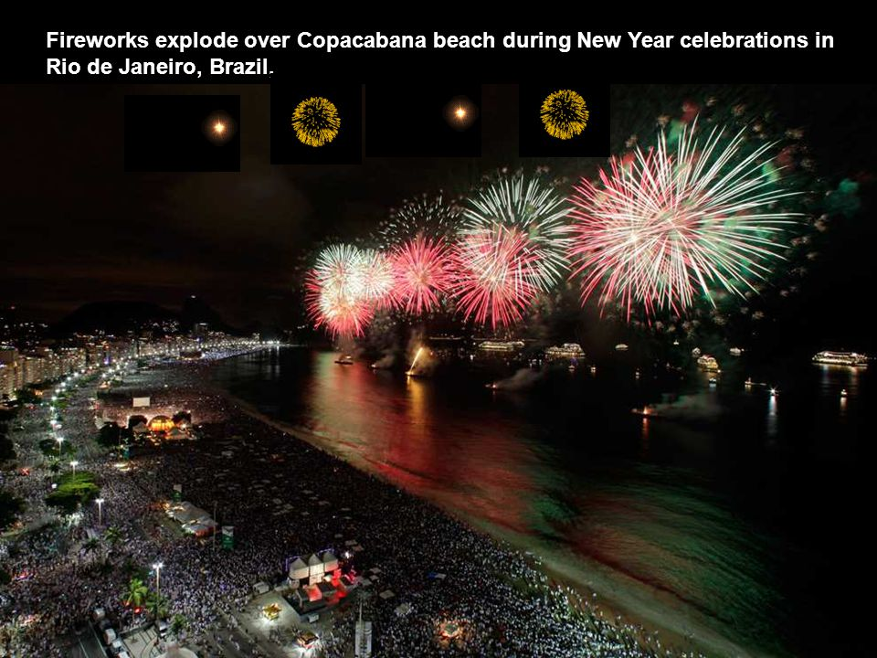 Fireworks explode over Copacabana beach during New Year celebrations in Rio de Janeiro, Brazil,