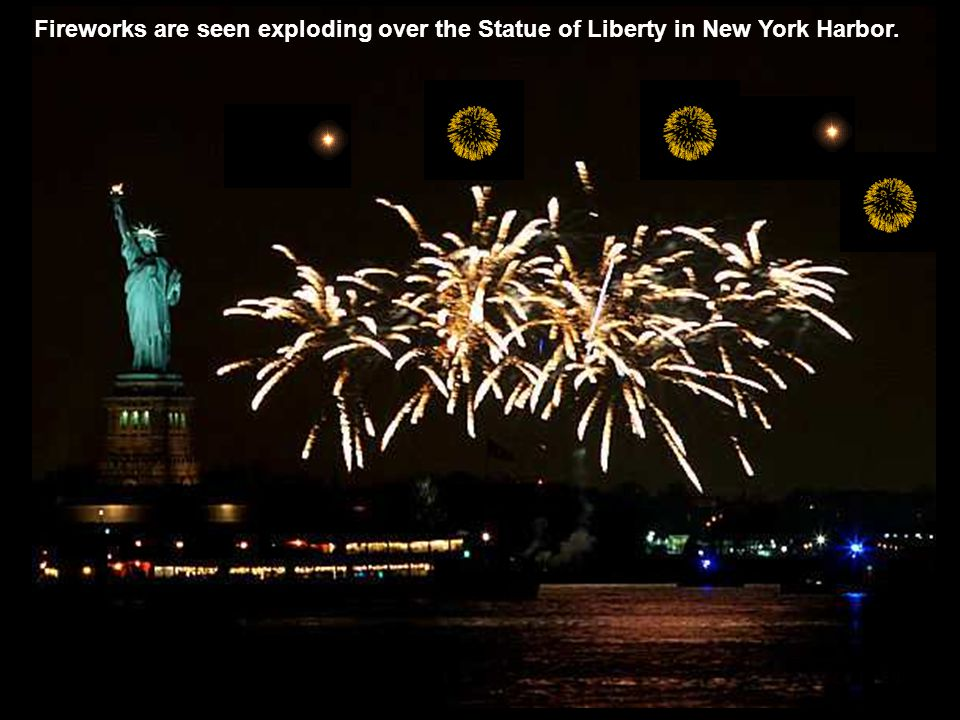 Fireworks are seen exploding over the Statue of Liberty in New York Harbor.