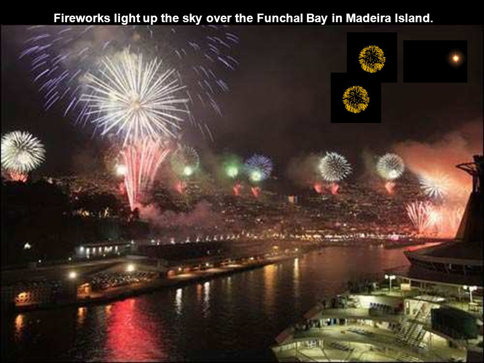 Fireworks light up the sky over the Funchal Bay in Madeira Island.