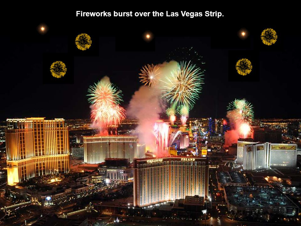 Fireworks burst over the Las Vegas Strip.