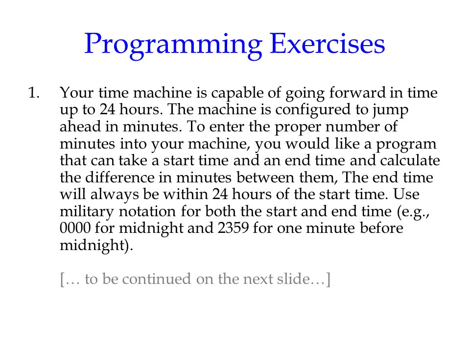 Programming Exercises