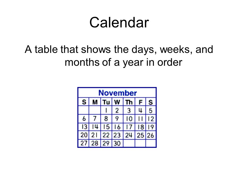 A table that shows the days, weeks, and months of a year in order
