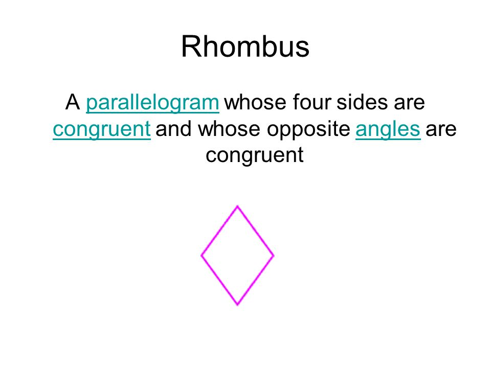 Rhombus A parallelogram whose four sides are congruent and whose opposite angles are congruent
