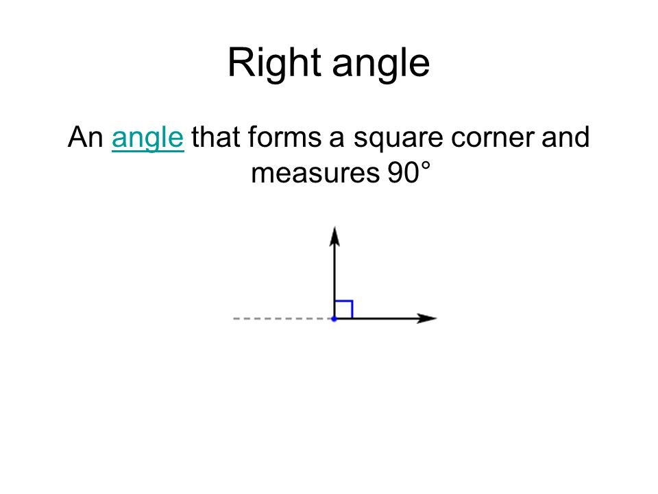An angle that forms a square corner and measures 90°