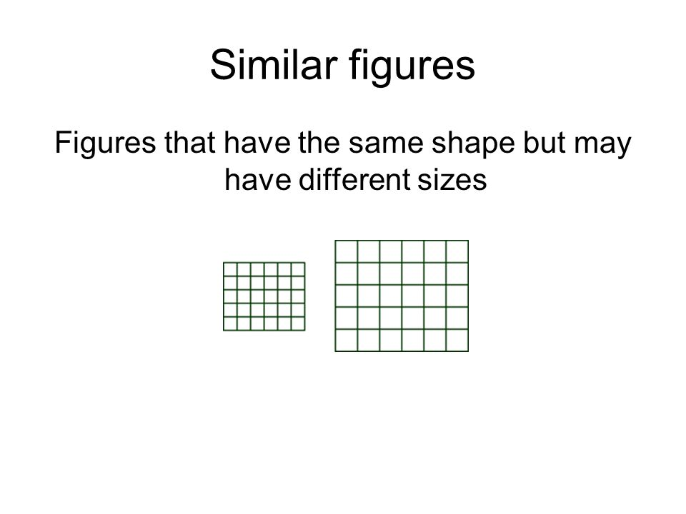 Figures that have the same shape but may have different sizes