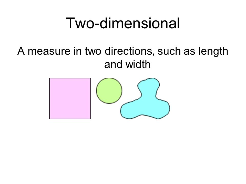 A measure in two directions, such as length and width