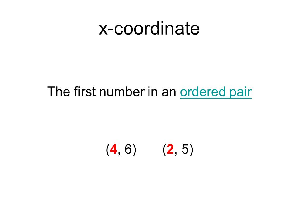 The first number in an ordered pair