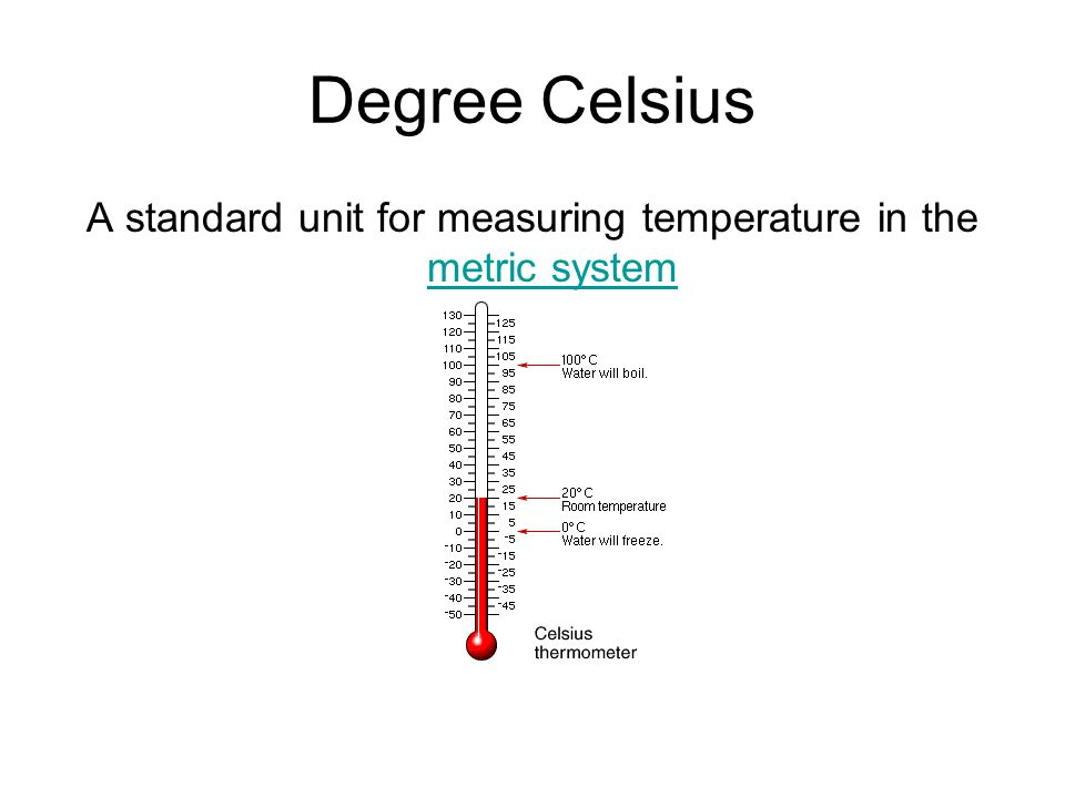 A standard unit for measuring temperature in the metric system