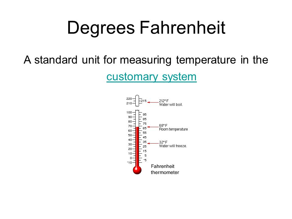 A standard unit for measuring temperature in the customary system