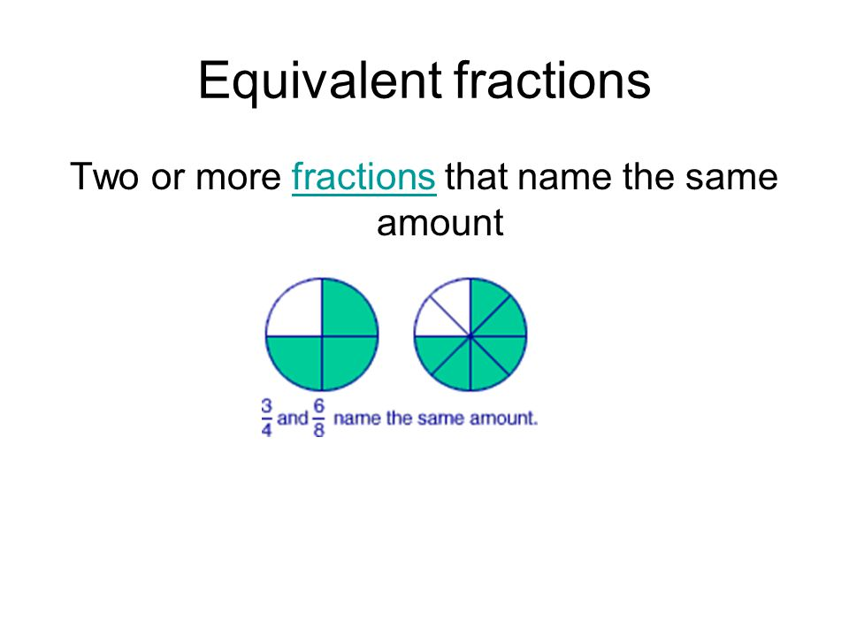 Two or more fractions that name the same amount