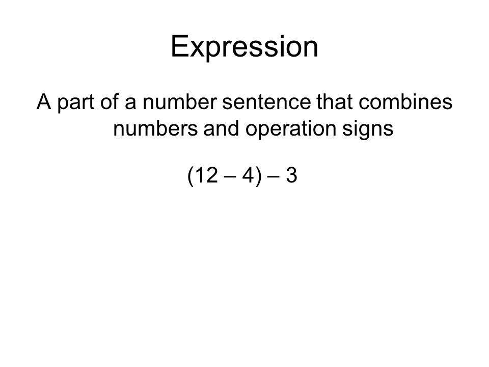 A part of a number sentence that combines numbers and operation signs