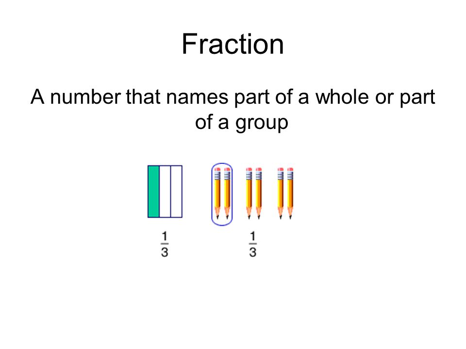 A number that names part of a whole or part of a group