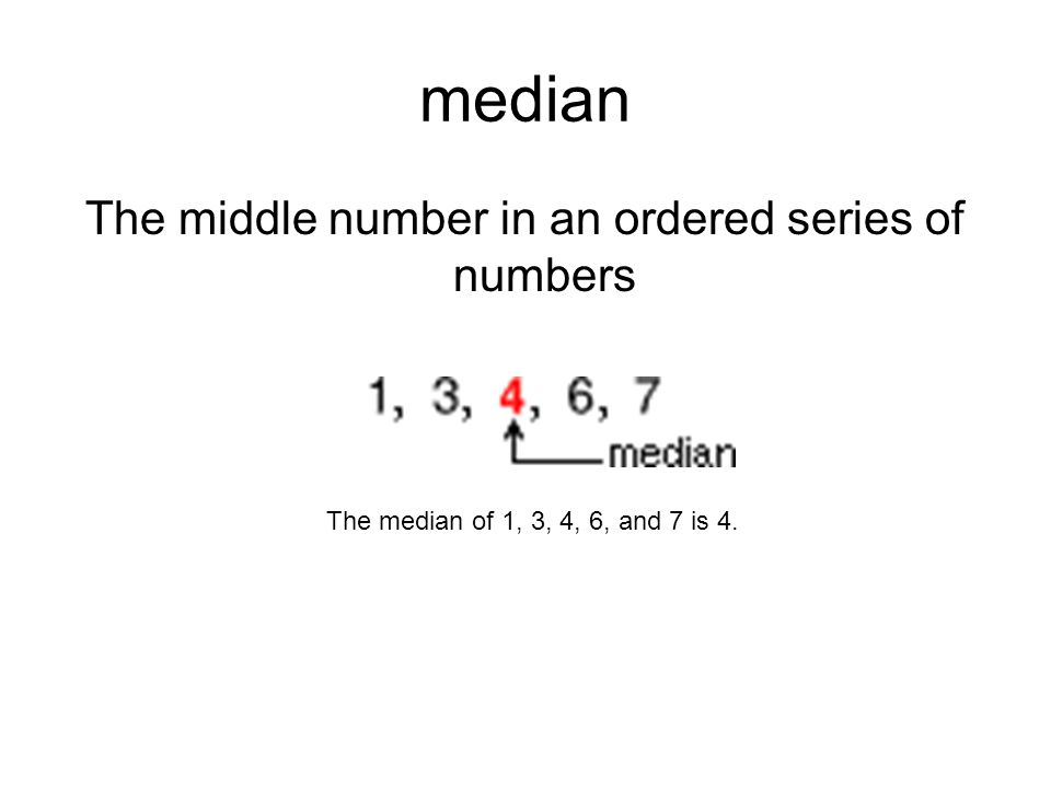 The middle number in an ordered series of numbers