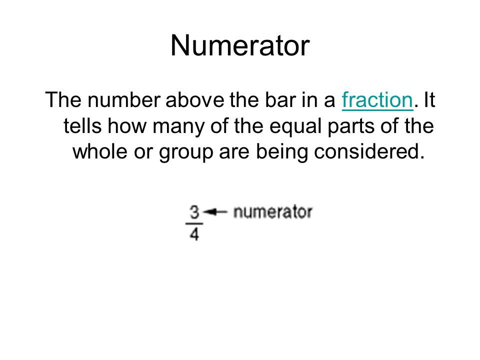 Numerator The number above the bar in a fraction.