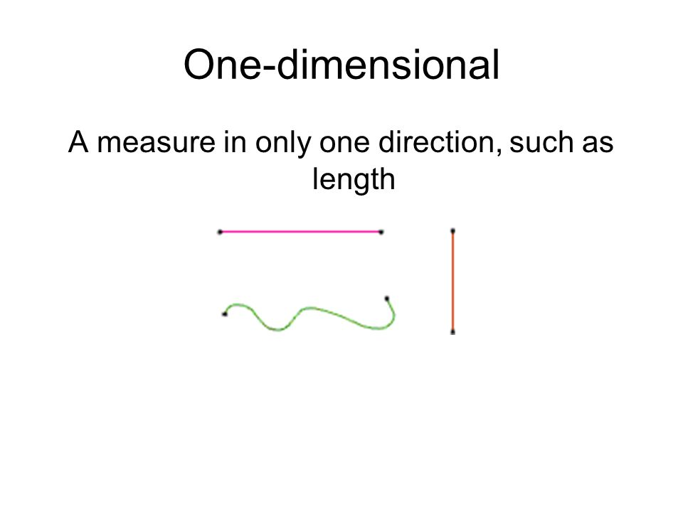 A measure in only one direction, such as length