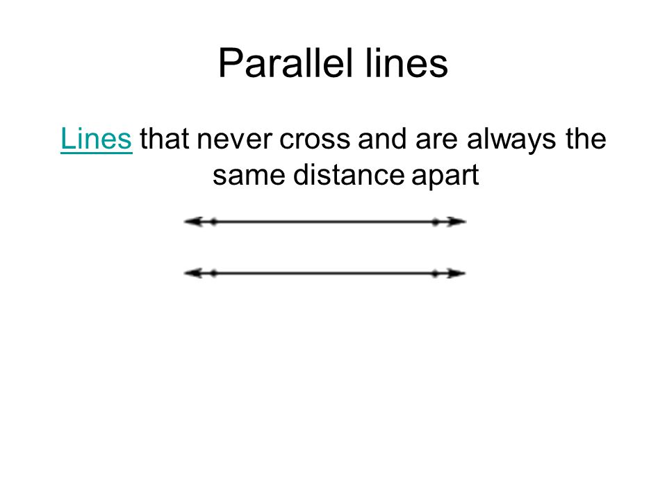 Lines that never cross and are always the same distance apart