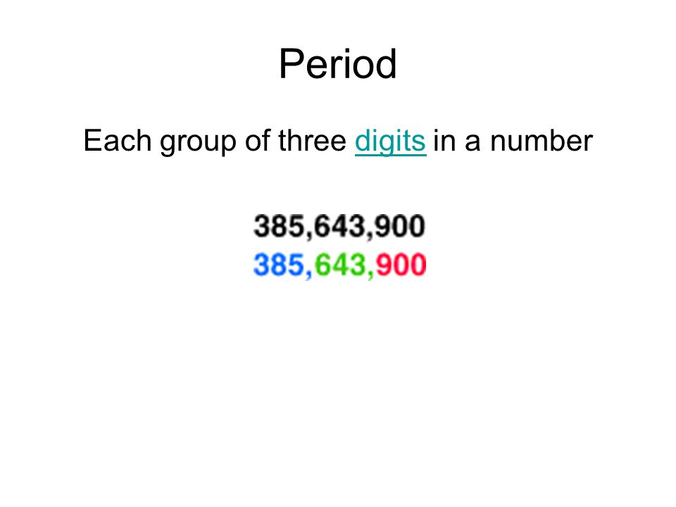 Each group of three digits in a number