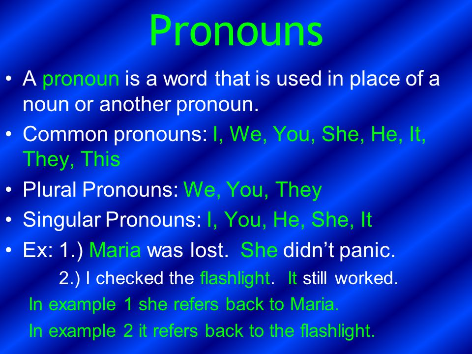 Pronouns A pronoun is a word that is used in place of a noun or another pronoun. Common pronouns: I, We, You, She, He, It, They, This.