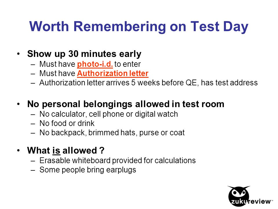 Worth Remembering on Test Day