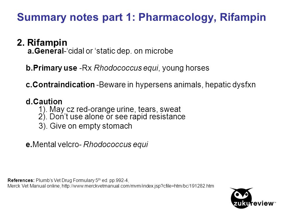 Summary notes part 1: Pharmacology, Rifampin