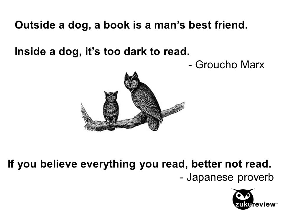 Outside a dog, a book is a man's best friend