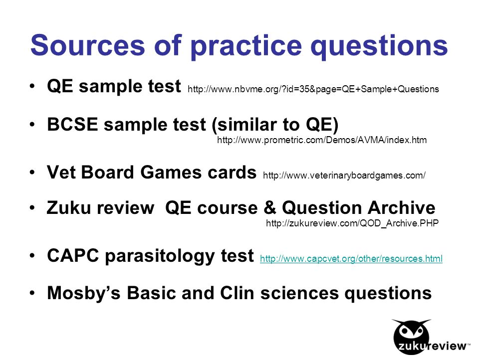Sources of practice questions