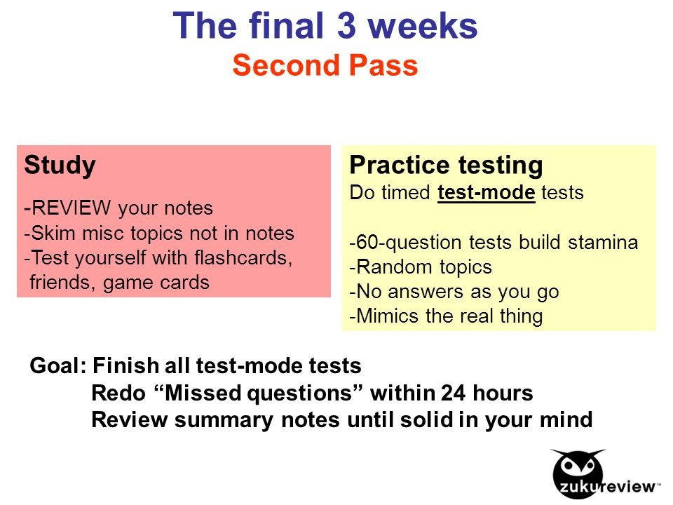 The final 3 weeks Second Pass