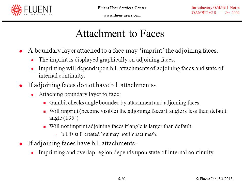 Attachment to Faces A boundary layer attached to a face may 'imprint' the adjoining faces. The imprint is displayed graphically on adjoining faces.