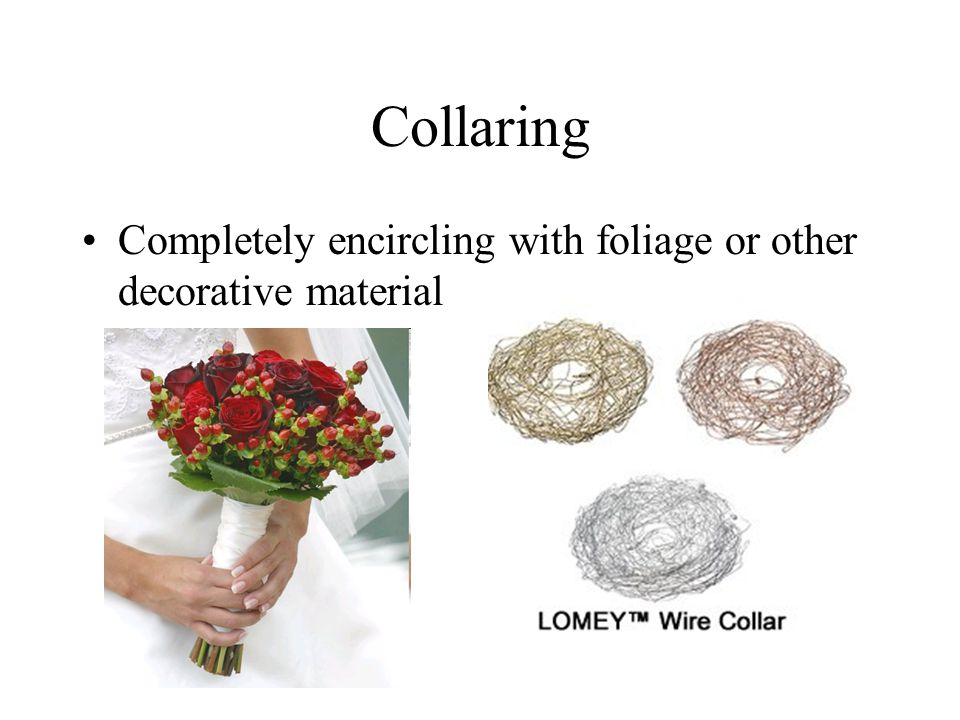 Collaring Completely encircling with foliage or other decorative material