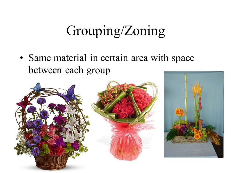 Grouping/Zoning Same material in certain area with space between each group