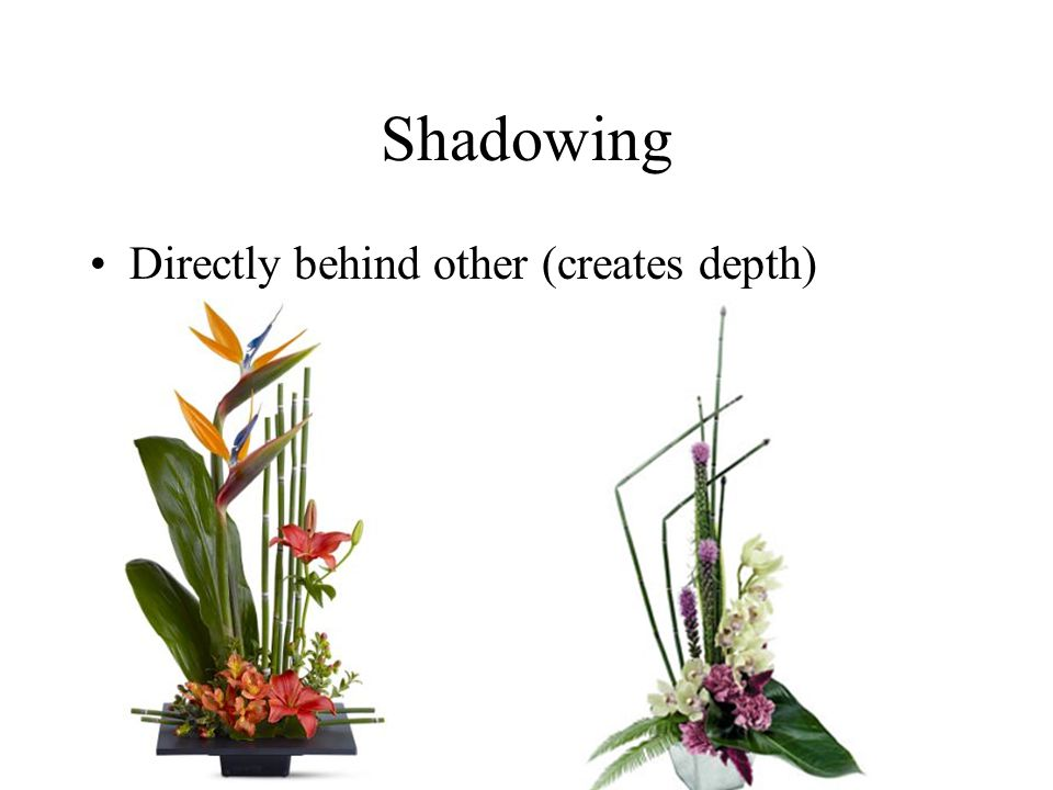 Shadowing Directly behind other (creates depth)