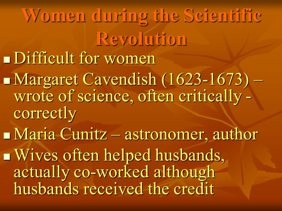 Women during the Scientific Revolution