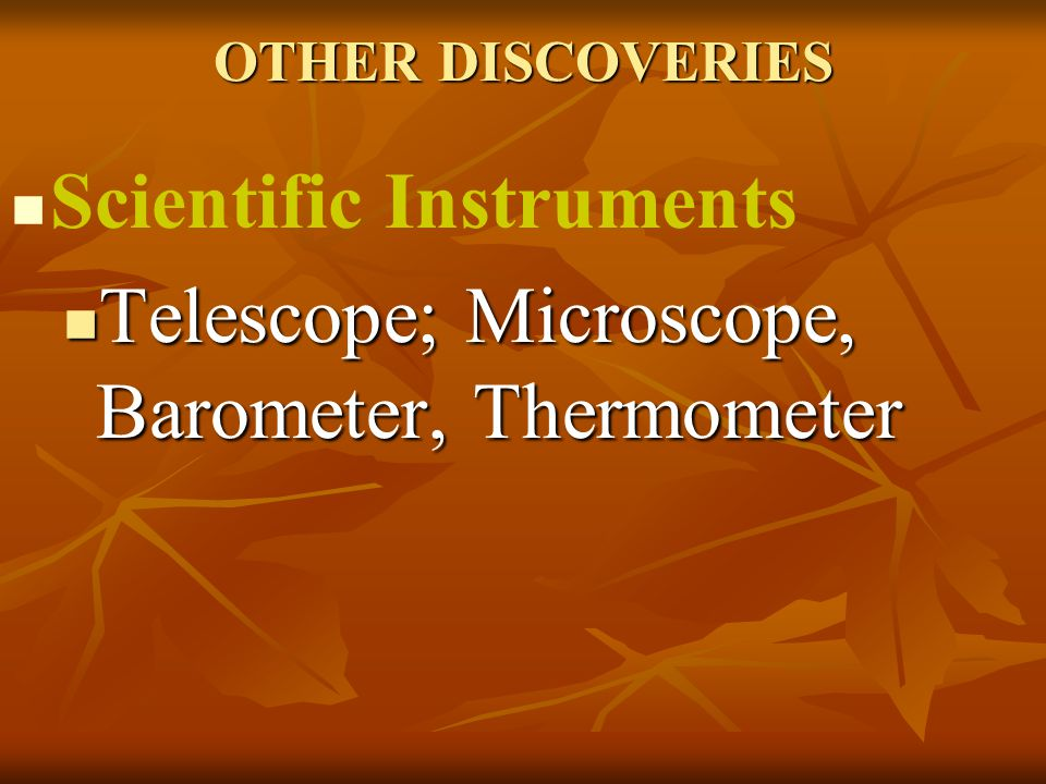 Scientific Instruments Telescope; Microscope, Barometer, Thermometer
