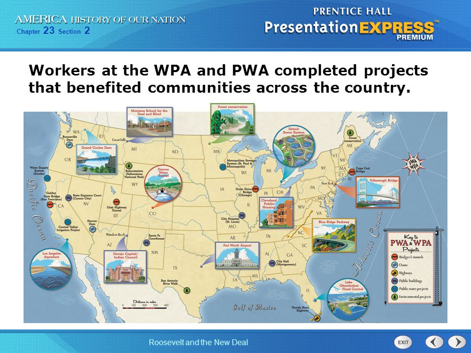 Workers at the WPA and PWA completed projects that benefited communities across the country.