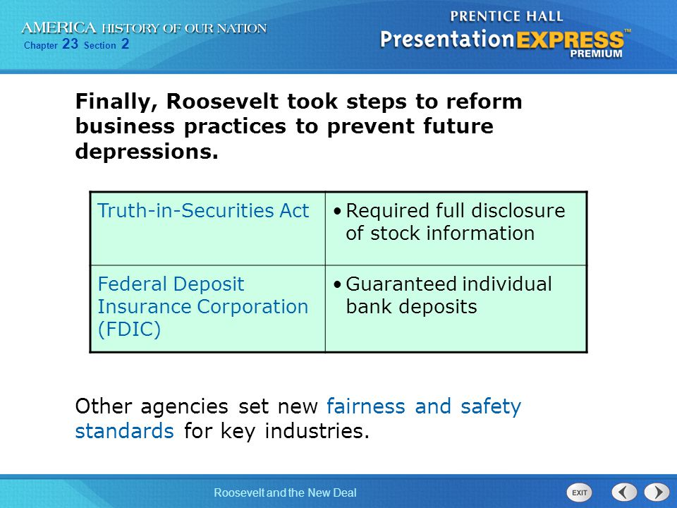 Finally, Roosevelt took steps to reform business practices to prevent future depressions.