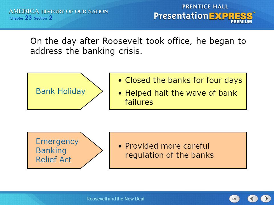 On the day after Roosevelt took office, he began to address the banking crisis.