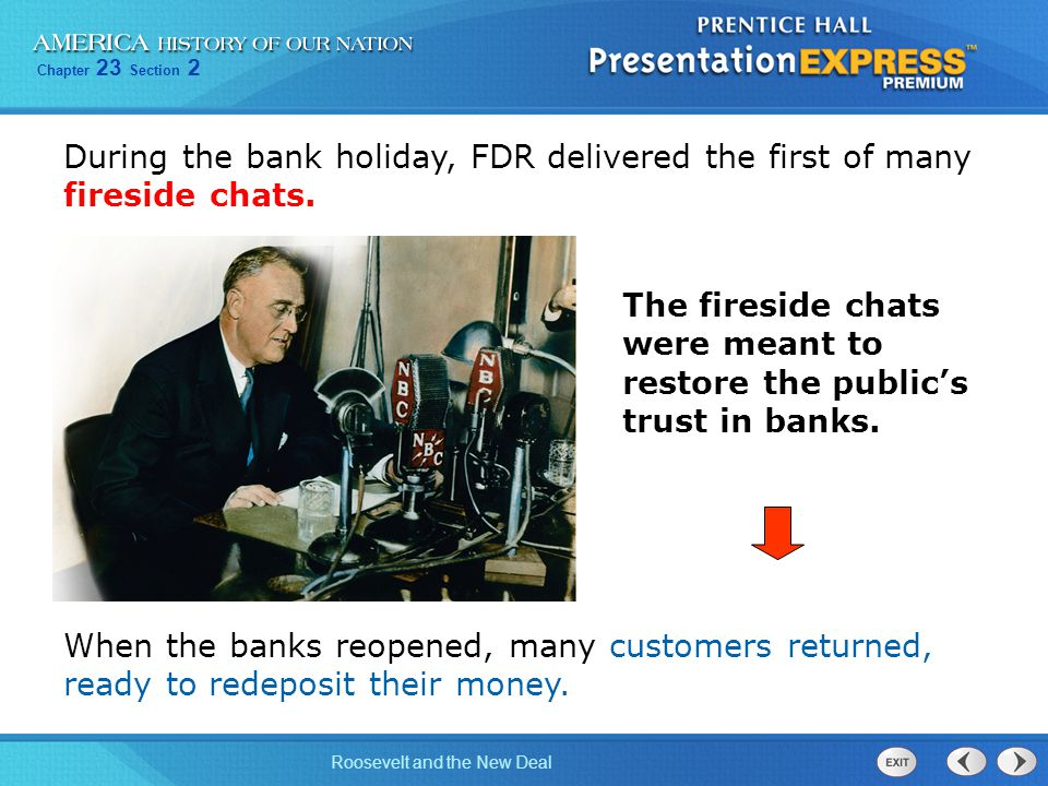 During the bank holiday, FDR delivered the first of many fireside chats.