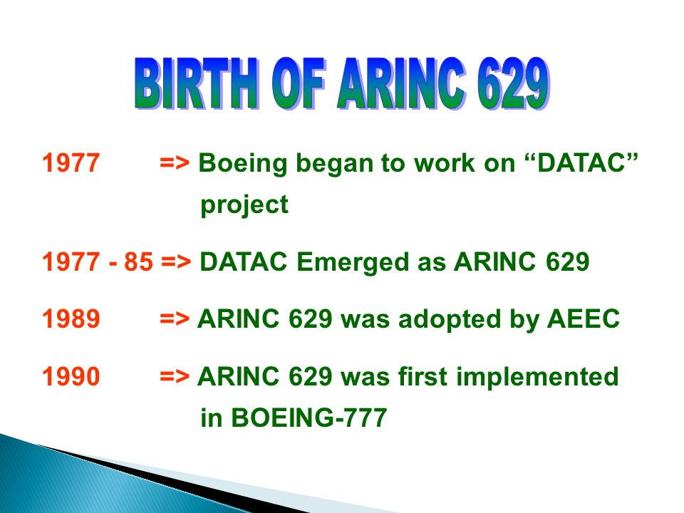 BIRTH OF ARINC 629 1977 => Boeing began to work on DATAC project