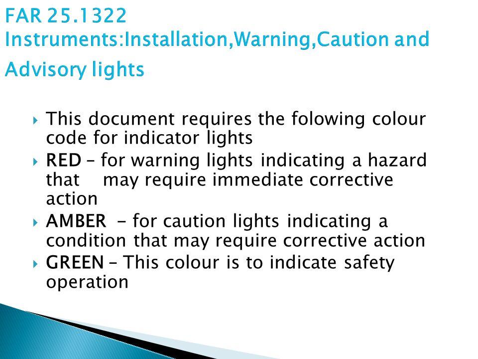 FAR 25.1322 Instruments:Installation,Warning,Caution and Advisory lights