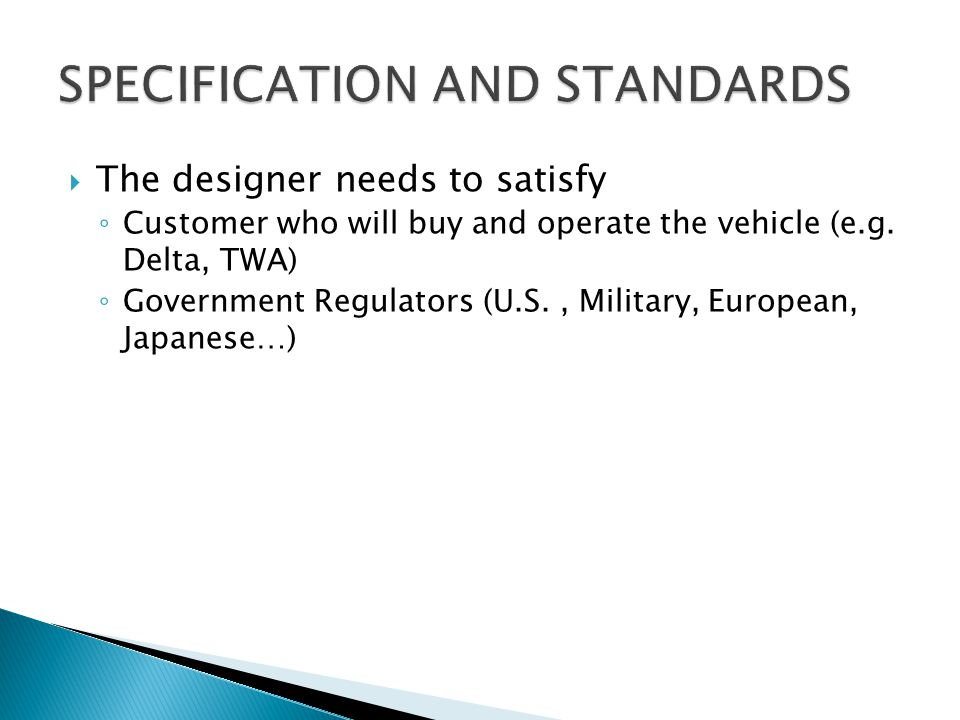 SPECIFICATION AND STANDARDS