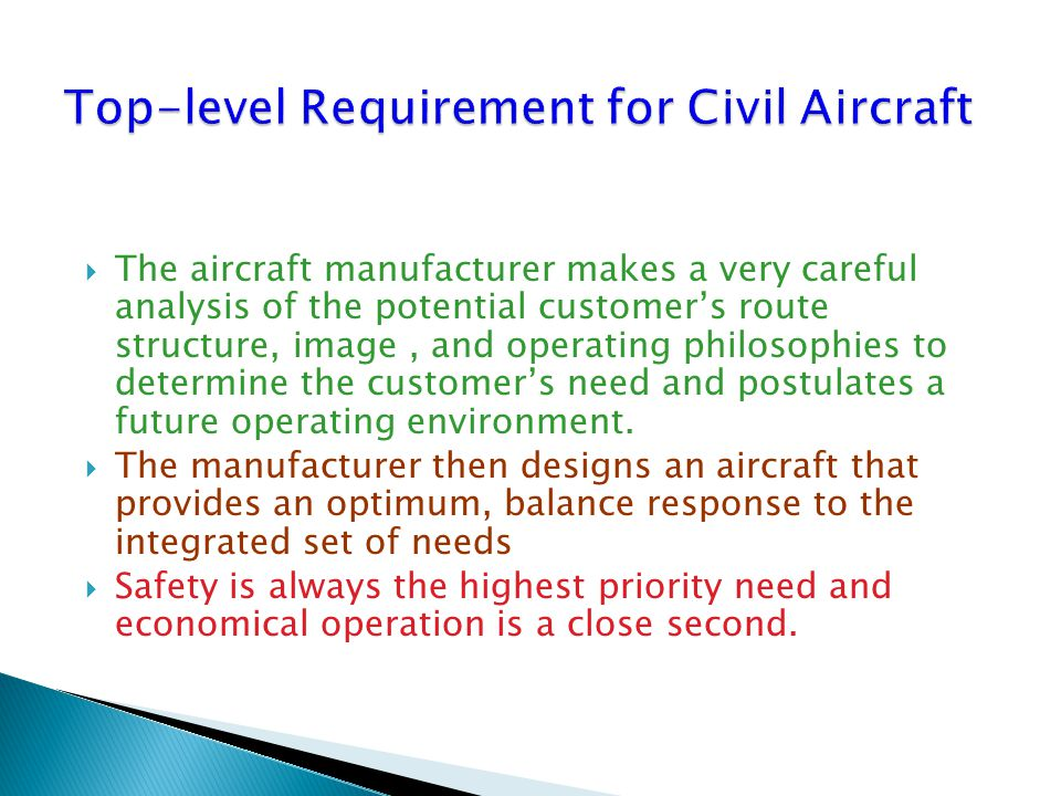 Top-level Requirement for Civil Aircraft