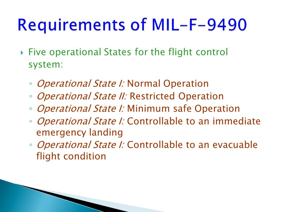 Requirements of MIL-F-9490