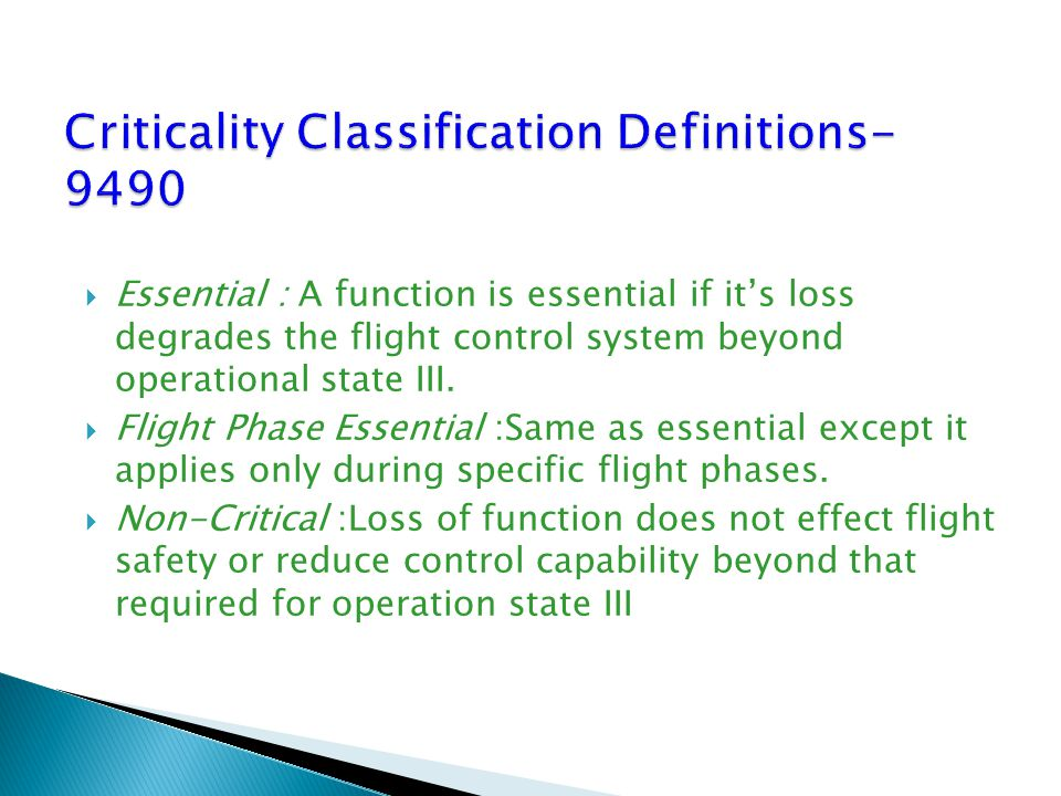 Criticality Classification Definitions-9490