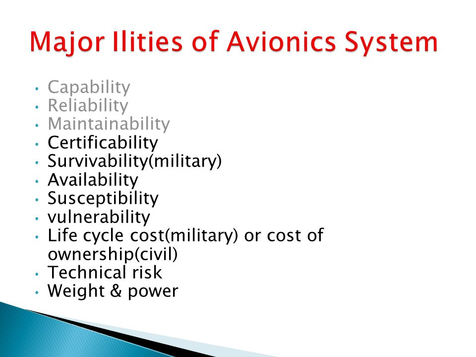 Major Ilities of Avionics System