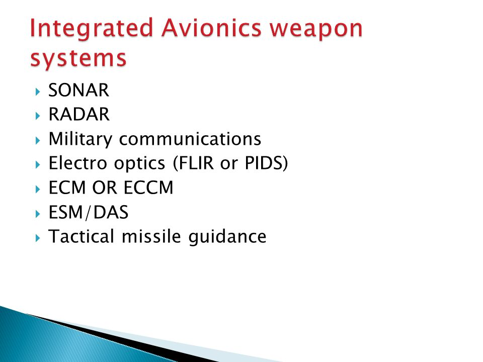 Integrated Avionics weapon systems