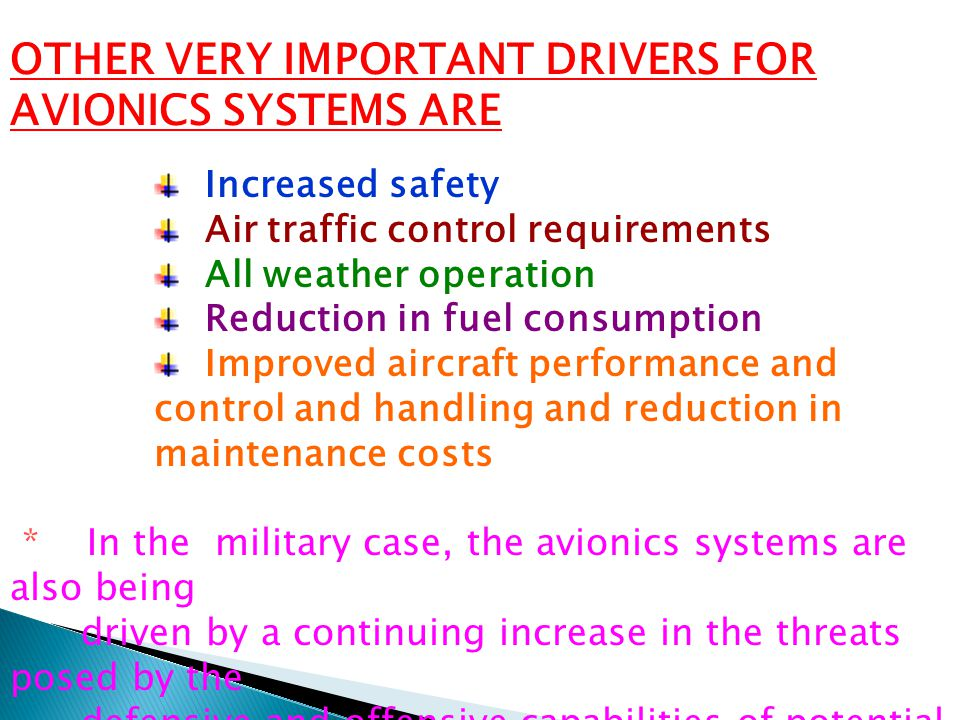 OTHER VERY IMPORTANT DRIVERS FOR AVIONICS SYSTEMS ARE