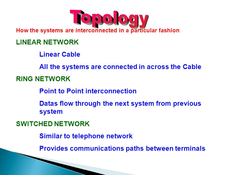 Topology LINEAR NETWORK Linear Cable