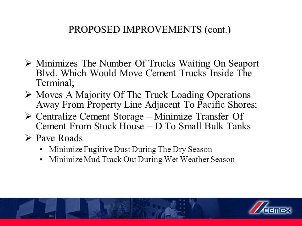 PROPOSED IMPROVEMENTS (cont.)