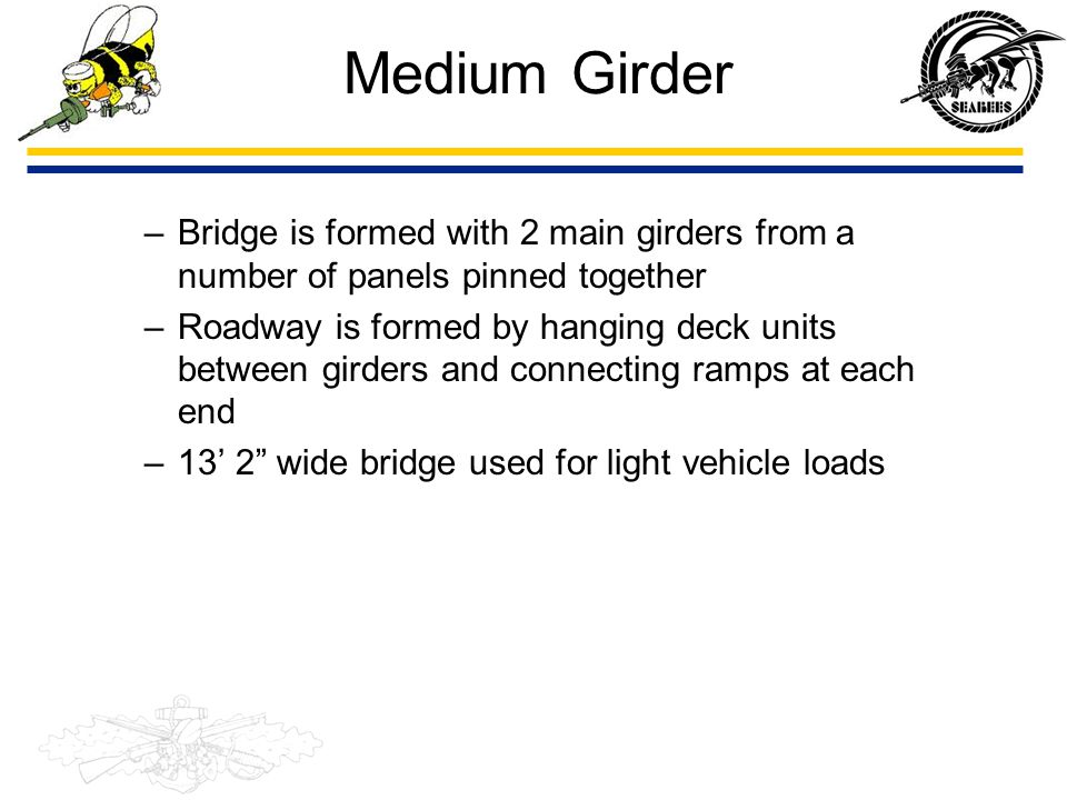 Medium Girder Bridge is formed with 2 main girders from a number of panels pinned together.