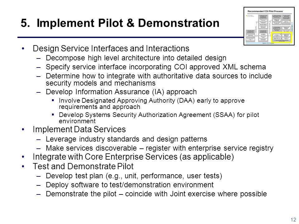 5. Implement Pilot & Demonstration